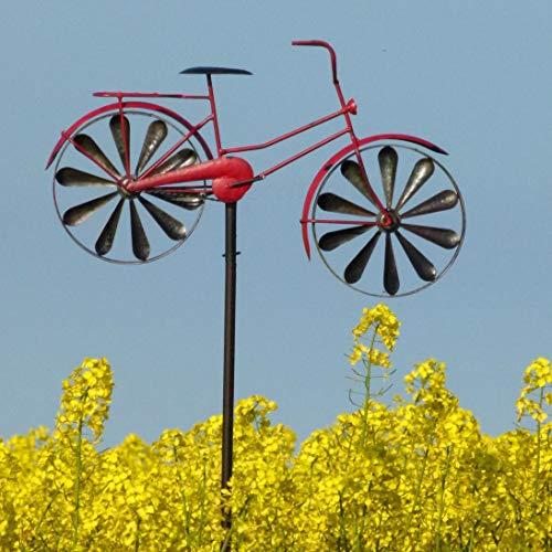 Pommerntraum ® Windspiel Windrad aus Metall Gartendekoration Gartenstecker Fahrrad Damenrad ROT