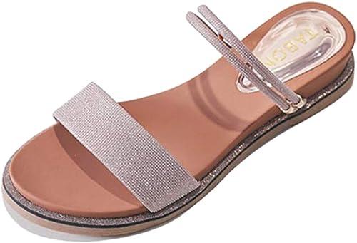 MYXUAA Sandales d'été pour Les dames de mode à bout ouvert plat épais fond bas Compensées Plate-forme Sandales Plage Décontracté Chaussures 1 Chaussure 2 Porter
