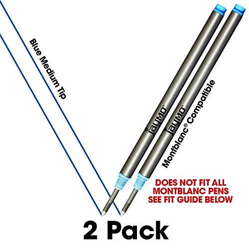 Jaymo - 2 - Reemplazo de recargas de tinta azul compatibles con Montblanc® bolígrafos roller de tinta. Escritura fluida tinta alemana y punta media. Comparar con Montblanc 105159/107878/MNB107878