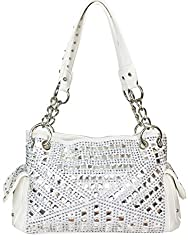 Gem Studded Rhinestone Concealed and Carry White Purse