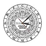 Wangzhongjie Circle of Fifths Stave Músico Compositor Regalo Enseñanza De Música Reloj De Cuarzo Colgante Moderno Teoría De La Armonía Reloj De Pared De Estudio Musical