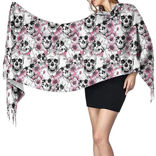 Bufanda grande para mujer, diseño de calavera con flores, color rosa, cereza, tacto de cachemira, color rosa
