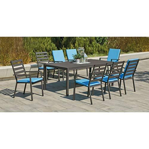 Table et fauteuils en aluminium 8 personnes Opal