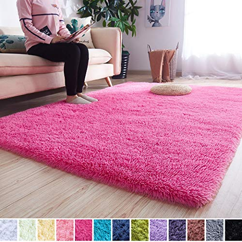 Noahas Super Soft Modern Shag Area Rugs Fluffy Living Room Carpet Comfy Bedroom Home Decorate Floor Kids Playing Mat 4 Feet by 5.3 Feet, Hot Pink