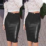 BOOSSONGKANG Falda, Falda, Mujer Falda,s Marrón Rojo 2020 Otoño Falda, de Cuero Cintura Alta Falda, lápiz de Fiesta Delgada, Negro, XL