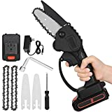 4-Inch Mini Chainsaw,24V Lithium Battery Electric Power Saw Rechargeable, Small Cordless Logging Household Chain Saw Woodworking Saw Wireless Portable Hand Guard Pruning Saws (black)