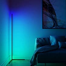 """TBOYUAN Corner Floor Lamp - RGB Color Changing Mood Lighting, Dimmable LED Modern Floor Lamp with Remote, 56"""" Metal Standi..."""