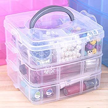 XYJIQS 3 Layer 18 Grids Storage Plastic Boxes Medicine Jewellery Bead Storage Box Container Organiser Case Craft Boxes Random Color