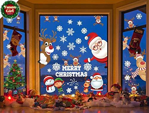 Yuson Girl Wiederverwendbarer Baum Weihnachtsmann Rentier Sets Wandfenster Aufkleber Kladentür Abdeckung Abnehmbare Wandtattoo Wandbild Aufkleber for S Home Shop Store Fensterdekorationen weihnachten