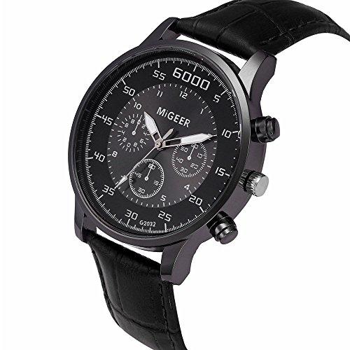 Armbanduhr männer Liusdh Uhren Scrub Zifferblatt Uhr Kristalllegierung Leaderband Analog Quarz Business Herrenuhr(Black,Einheitsgröße)