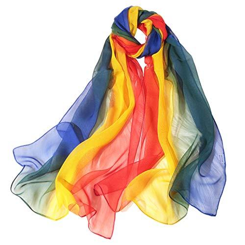 ZXAS Écharpe en soie de danse Etiquette Etiquette Courwalk Show Georgette Écharpe multicolore rainbow 2-same