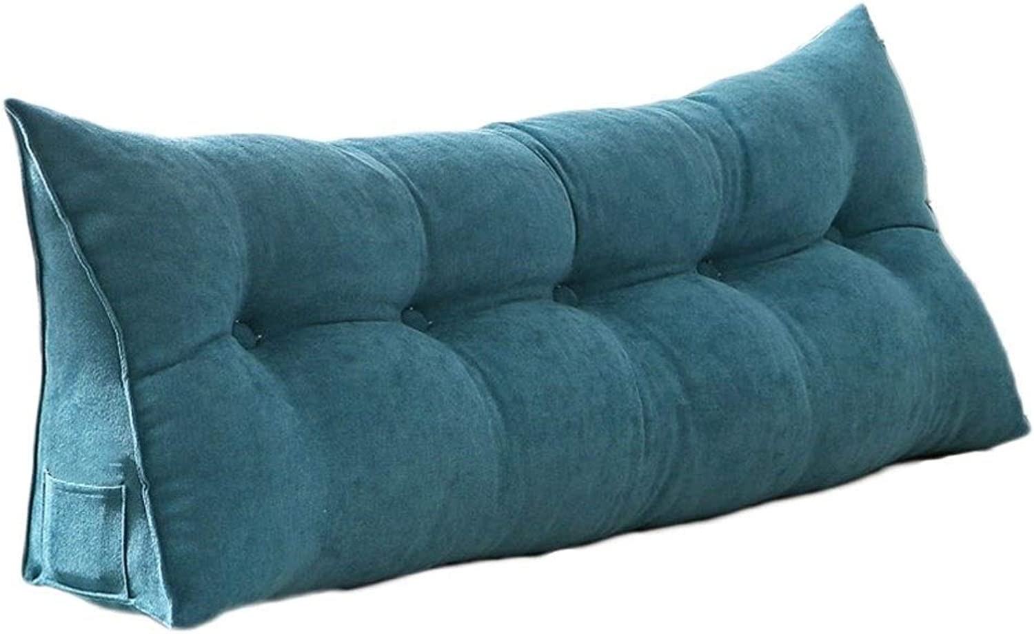 Nordic Simple Solid color Cushion Zipper Removable and Washable Bed Triangle Back Long Pillow Sofa Large Cushion (color   Cyan, Size   180  20  50cm)