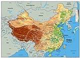Carte physique chinoise - Papier laminé - Format A0 84,1 x 118,9 cm