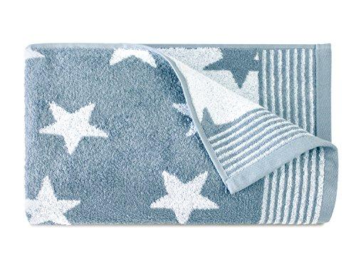 Dyckhoff Frottierserie aus dem Hause Handtuch oder Duschtuch - Elegantes Streifendesign kombiniert mit Sternen - geprüfte Qualität, Duschtuch [70 x 140 cm], hellblau