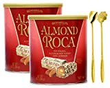 Brown & Haley Almond Roca Chocolate Candy Original ButterCrunch Toffee with Almonds Combination Set of 2 Packs of Inspirational Industry Brand Stainless Steel Mixing Stirring Spoon | Coffee Stirrers