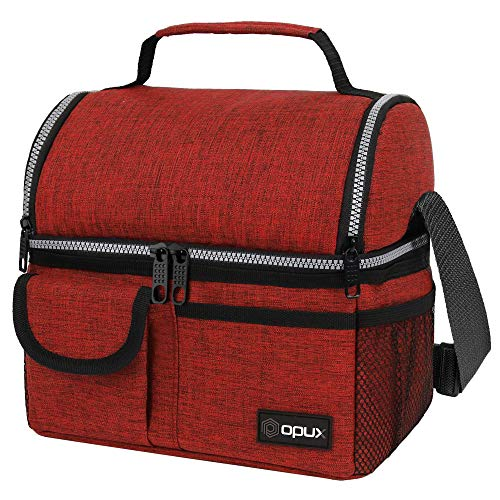 OPUX Insulated Dual Compartment Lunch Bag for Men Women  Double Deck Reusable Lunch Pail Cooler Bag with Shoulder Strap Soft Leakproof Liner  Large Lunch Box Tote for Work School Red