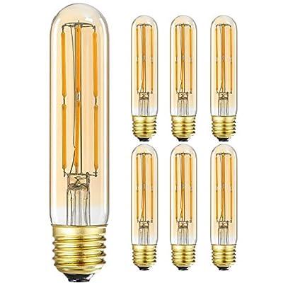 LEOOLS T10 Led Tube Bulb, 6W Dimmable Led Tubular Bulbs, 3500K Soft White, Amber Led Edison Bulb, 60 Watt Equivalent,AC120V 550lm,Edison Style Vintage LED Filament Decoration Bulb,6 Pack.