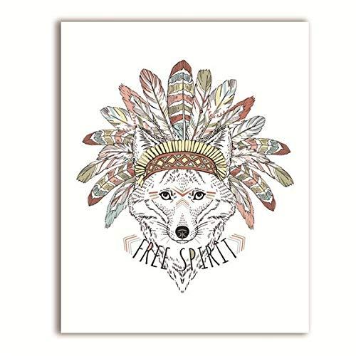 Geiqianjiumai Dierlijke Indiase kunstdruk poster Atiaanse vos dier wolf en veren etnische canvas schilderij wanddecoratie zonder lijst
