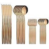 GrandGift 24Pcs Cuchillos De Oro Rosa Cake Fruit Forks Spoon Silverware Set Vajilla Cubiertos De Acero Inoxidable Vajilla De Cocina De Cocina