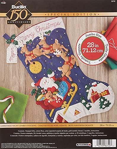 Bucilla Felt Applique Stocking Kit Christmas Night, Size 28-Inch