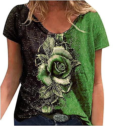 Camiseta de manga corta para mujer, estilo retro, sexy, vintage, grande, con estampado de rosas, para verano, informal, moderna, básica, para mujeres, adolescentes, niñas, tallas grandes, verde, XL
