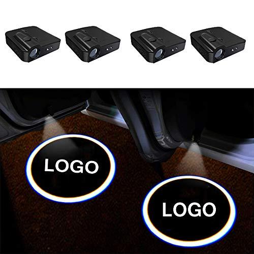 TGCF LED Auto Projektor, 4 Stück Autotür Willkommen Logo Light Muster Schatten Licht, Universal Drahtlose Wireless Magnetisch Sensor Schatten Logo Licht Für Autotür,VIP