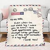 JYSSH Personalisierter Brief Wohndecke, Super Weicher Flanell Kuscheldecke Warmer Atmungsaktiv Blanket Felldecke Für Tochter Sohn Inspirierendes Geschenk,to My Wife-59'x87'/150x220cm