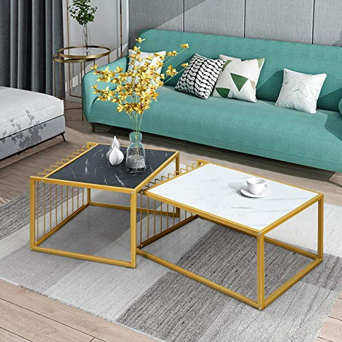 COSTWAY Nesting Table Set, 2PCS Metal Frame Modern Sofa End Tables, High Low Stacking Coffee Side Table for Home Office Living Room (Gold)