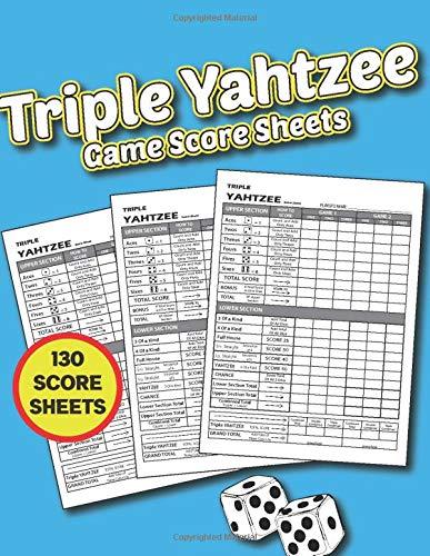 Triple Yahtzee Game Score Sheet: 130 Score Sheet, Game Record Score Keeper Book, Score Card