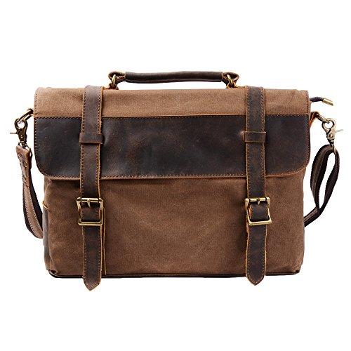 "S-ZONE Borsa a Tracolla Messenger Tela in Pelle Uomo Donna Messenger Bag Cartella di Affari Borsa Laptop 14"""