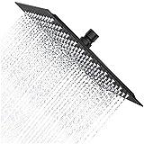 Drenky Alcachofa ducha cuadrada de 12 ''/30cm Alcachofas fijas para ducha de acero inoxidable 304 alcachofa ducha alta presión alcachofa ducha lluvia Conector de rotación G1/2'' Superficie negra