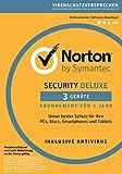 Norton Security Deluxe 2018 | 3 Geräte | 1 Jahr | PC/Mac/iOS/Android | Download
