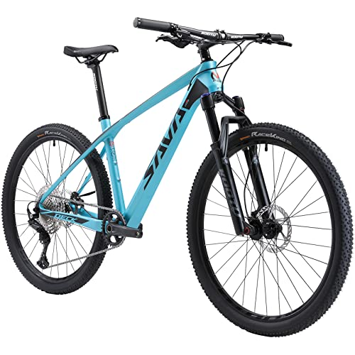 """SAVADECK Carbon Fiber Mountain Bike, DECK6.1 MTB 27.5"""" Complete Hard Tail Mountain Bicycle 12 Speeds with DEORE M6100 Group Set (Blue, 27.5x17'')"""