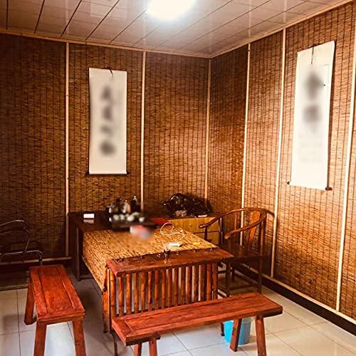 kufu01 Persianas Enrollables de Bambú Decorativas de Carbonización Vintage,Cortina de Paja de Sombra,Cortina de Caña de Partición,para Puerta y Ventana,Dormitorio,Restaurante (105x160cm/41x63in)