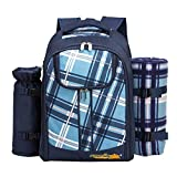 apollo walker 2 Person Picnic Backpack Picnic Bag Hamper Cooler Bag with Tableware Set & Blanket (Blue)
