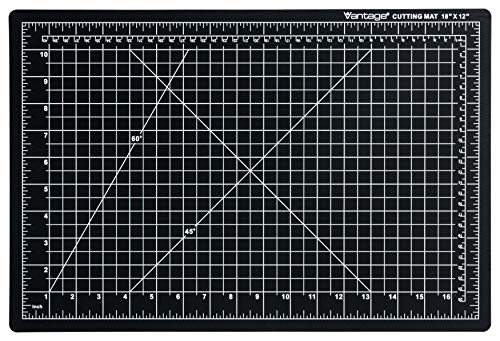 "Dahle - 10671-12580 Vantage 10671 Self-Healing Cutting Mat, 12""x18"", 1/2"" Grid, 5 Layers for Max Healing, Perfect for Crafts & Sewing, Black"