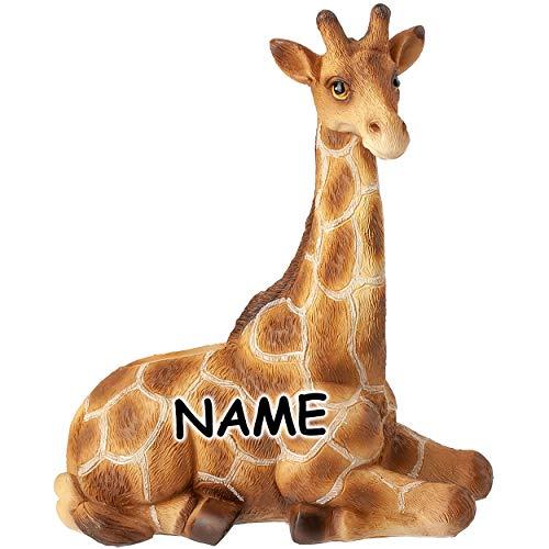 alles-meine.de GmbH große Spardose - Motivwahl - Kunstharz - Giraffe - incl. Name - mit Verschluß - 17 cm - stabile Sparbüchse - Sparschwein - für Kinder & Erwachsene / lustig wi..