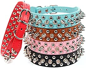 AOLOVE Mushrooms Spiked Rivet Studded Adjustable Pu Leather Pet Collars for Cats Puppy Dogs (Medium, Pink)