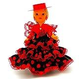 Folk Artesanía Muñeca Regional colección de 25 cm con Vestido típico Andaluza Flamenca Andalucia con Sombrero cordobesa España. (Rojo Lunar Negro)