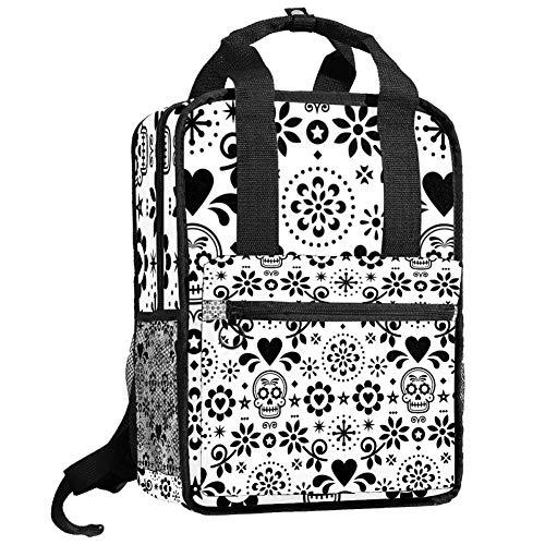 Mochila de viaje para ordenador o estudiante, bolso de mano informal, regalo para hombres y mujeres, calavera y flores en blanco y negro