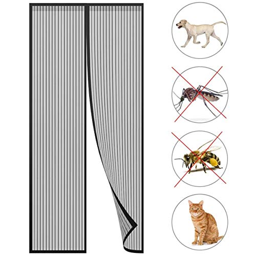 GONGFF Magnetic Screen Door, 200x270cm Screen Magnets Anti Mosquito Bugs with Enhanced Magnets for Keep Bugs Fly out, White A