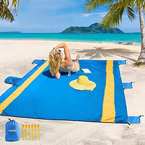 Aerb Manta de Playa, 275 x 214 cm Alfombra Playa a Prueba de Arena Exteriores para 7-9 Adultos, Estera Extra Grande y Ligera para Exteriores para Acampar, Viajar, Senderismo