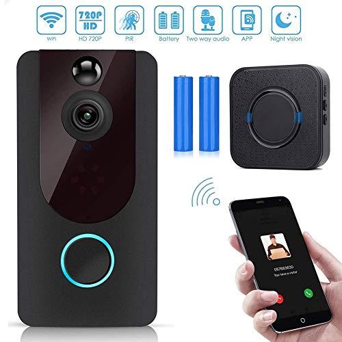 Video deurbel draadloos smartphone, 720p HD deurintercom WLAN camera met intercomfunctie, nachtzicht modus, bewegingsmelder, IP55 waterdicht