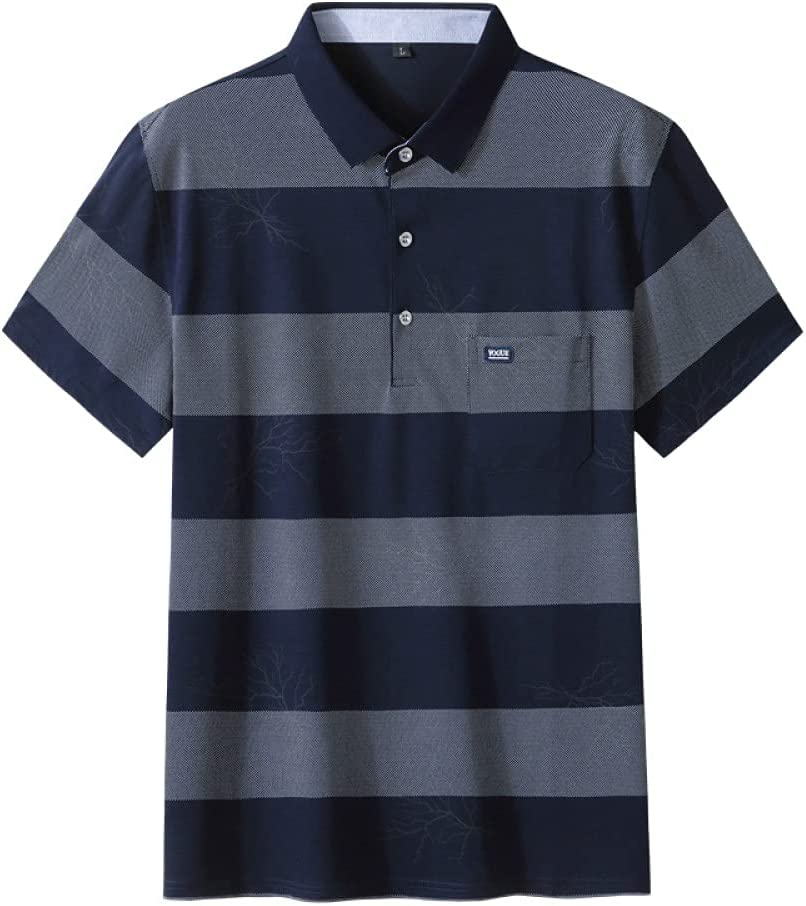 Cash special price GXRGXR Men's Plus Size Polos - New Free Shipping Short S Breathable Summer Striped