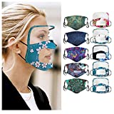 10Pcs Reusable and Washable, Face Bandanas with Clear Window and Eye Protection, Visible Expression, Indoors and Outdoors, for Adults, Also for Deaf and Hard Of Hearing