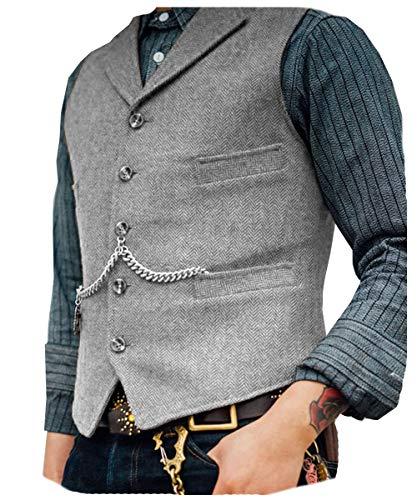 Solove-Suit Herren Klassisches Fischgrätenmuster Anzug Weste Notch Revers Slim Fit Weste für Hochzeit Groomsmen(Silber-Grau,XL
