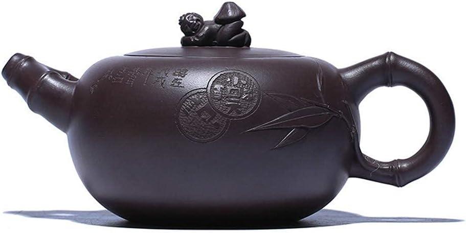 HUAXUE Teapot Japanese, Bamboo Teapot Tea Cup Purple Clay T