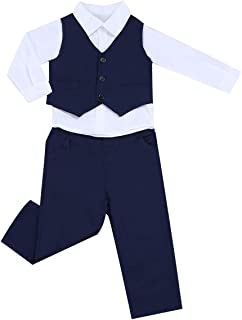 FORESTIME Baby Boy Cotton Formal Party Christening Wedding Tuxedo Waistcoat Bow Tie Rompers Suit 0-24M