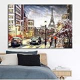 ganlanshu Pintura sin Marco Arte confiable Calle Paisaje Ciudad Pareja Cartel Lienzo Pintura Arte de la paredZGQ5461 50X75cm