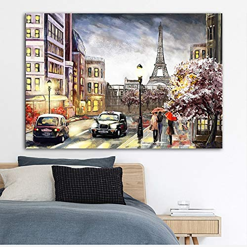 ganlanshu Rahmenlose Malerei Zuverlässige Kunst Straßenlandschaft Stadtpaar Plakat Leinwand Malerei WandkunstZGQ5461 50X75cm